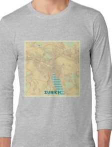 Zurich Map Retro Long Sleeve T-Shirt