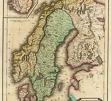 Vintage Map of Norway and Sweden (1831) by BravuraMedia