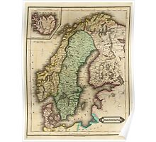Vintage Map of Norway and Sweden (1831) Poster