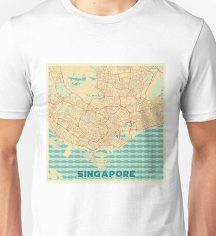 Singapore Map Retro Unisex T-Shirt