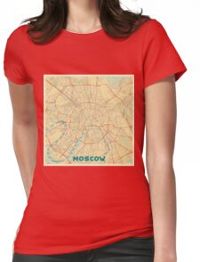 Moscow Map Retro Womens Fitted T-Shirt