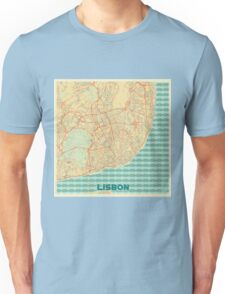 Lisbon Map Retro Unisex T-Shirt