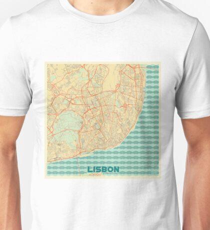 Lisbon Map Retro Unisex T-Shirt