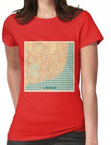 Lisbon Map Retro Womens Fitted T-Shirt