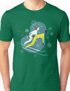 Mid Century Winter Holiday Retro Ski Couples and Snowflakes Unisex T-Shirt
