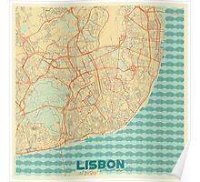 Lisbon Map Retro Poster