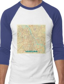Warszawa Map Retro Men's Baseball ¾ T-Shirt