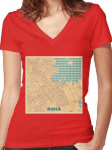 Doha Map Retro Women's Fitted V-Neck T-Shirt