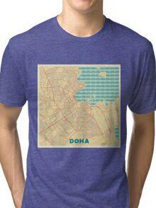 Doha Map Retro Tri-blend T-Shirt