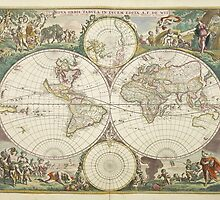 Vintage Map of The World (1680) by BravuraMedia