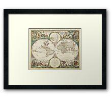 Vintage Map of The World (1680) Framed Print