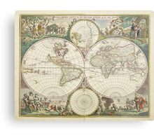 Vintage Map of The World (1680) Metal Print