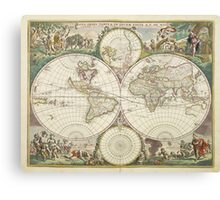 Vintage Map of The World (1680) Canvas Print