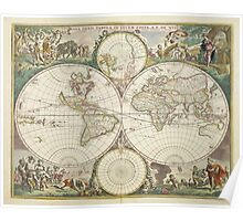Vintage Map of The World (1680) Poster