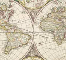 Vintage Map of The World (1680) Sticker