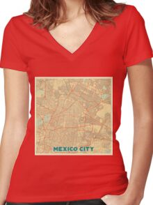 Mexico City Map Retro Women's Fitted V-Neck T-Shirt