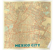 Mexico City Map Retro Poster