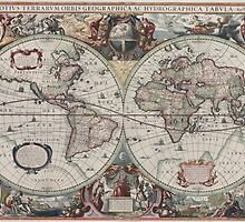 Vintage Map of The World (1630) by BravuraMedia