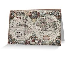 Vintage Map of The World (1630) Greeting Card