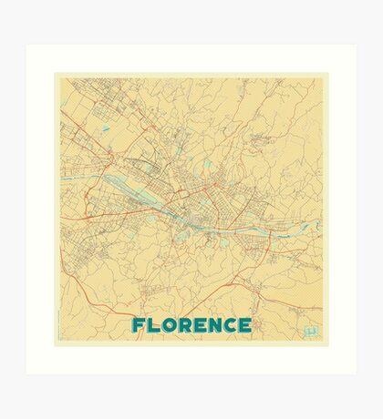 Florence Map Retro Art Print