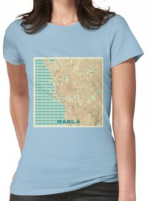Manila Map Retro Womens Fitted T-Shirt