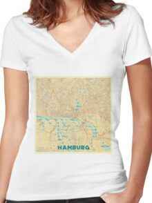 Hamburg Map Retro Women's Fitted V-Neck T-Shirt