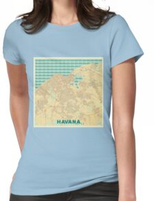 Havana Map Retro Womens Fitted T-Shirt