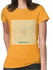 Shanghai Map Retro Womens Fitted T-Shirt