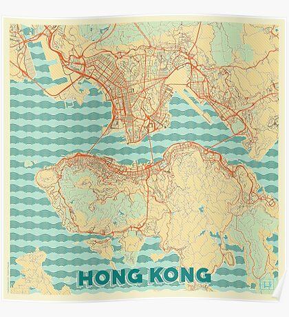 Hong Kong Map Retro Poster