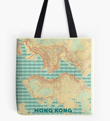 Hong Kong Map Retro Tote Bag