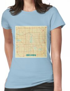 Beijing Map Retro Womens Fitted T-Shirt