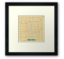 Beijing Map Retro Framed Print
