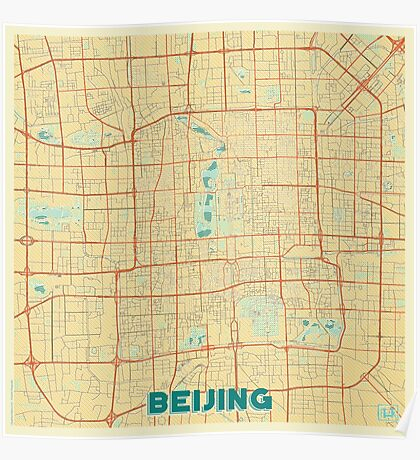 Beijing Map Retro Poster