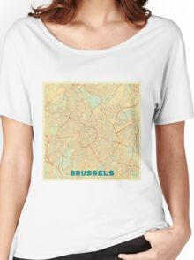 Brussels Map Retro Women's Relaxed Fit T-Shirt
