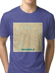Brussels Map Retro Tri-blend T-Shirt