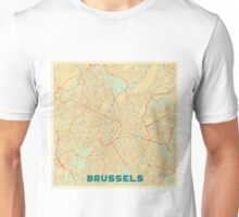 Brussels Map Retro Unisex T-Shirt
