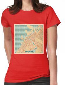 Dubai Map Retro Womens Fitted T-Shirt