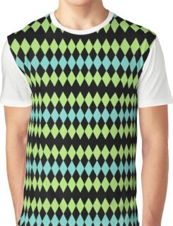 Retro Diamond : Neon Blue Green Black Pattern Graphic T-Shirt