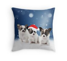 Cute Chihuahua Puppies with Santa Hat Christmas Throw Pillow