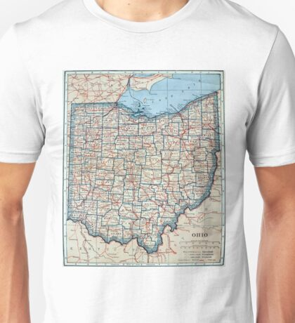 Vintage Map of Ohio (1921) Unisex T-Shirt
