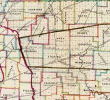 Vintage Map of Ohio (1866)  Sticker
