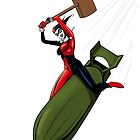 Harley Quinn Riding a Bomb by jarofcomics