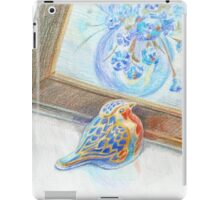 Porcelain bird and framed picture of flower boquet iPad Case/Skin