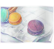 Bright multicolored macaroons Poster