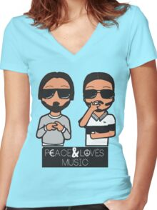 peace and love music Women's Fitted V-Neck T-Shirt