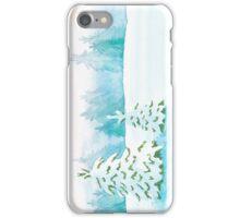 Snowy Landscape ~ watercolor postcard iPhone Case/Skin