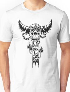 Psychedelic Skull and Snake Totem - Black and White Unisex T-Shirt