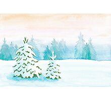 Snowy Landscape ~ watercolor postcard Photographic Print