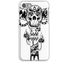 Psychedelic Skull and Snake Totem - Black and White iPhone Case/Skin