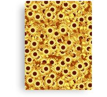Sunflower Pattern, Gold, Yellow and Brown Canvas Print